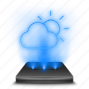 application, cloud, forecast, hologram, rain, snow, weather icon