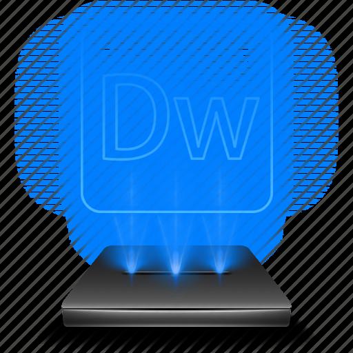 adobe, design, dreamweaver, hologram, web icon