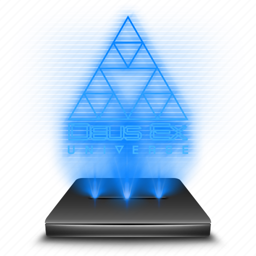 deus, entertainment, ex, game, hologram, holographic icon