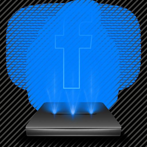 facebook, hologram, media, network, social, socialmedia icon