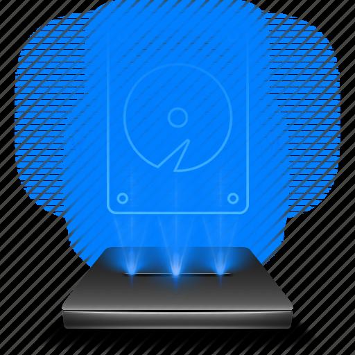 computer, data, database, hardware, hdd, hologram, holographic icon