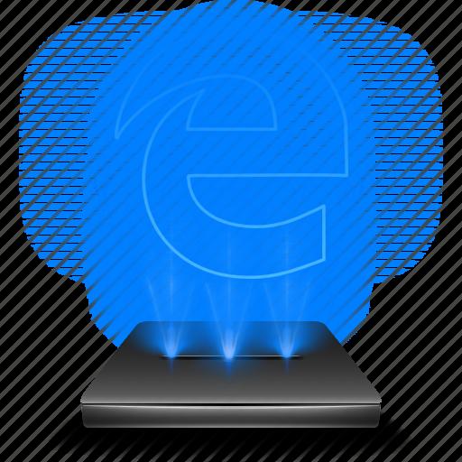 browser, edge, hologram, internet, microsoft icon