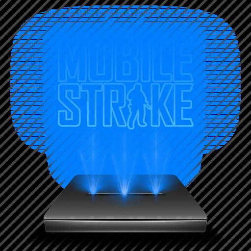 entertainment, game, hologram, holographic, mobile, strike icon