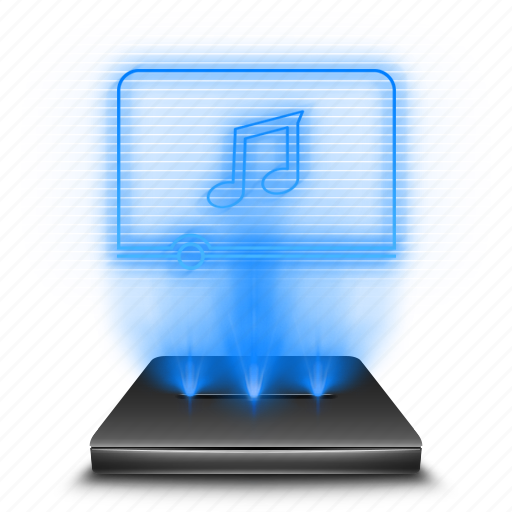 audio, hologram, holographic, media, multimedia, music, player icon