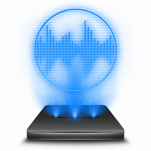 hologram, mic, microphone, record, recorder, speaker, voice icon