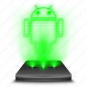 android, hologram, operating, phone, smartphone, system icon