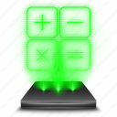 accounting, calculate, calculating, calculator, hologram, holographic, mathematics icon