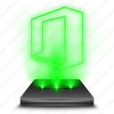 document, excel, hologram, microsoft, office, word, work icon