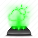 app, clouds, forecast, hologram, rain, temperature, weather icon