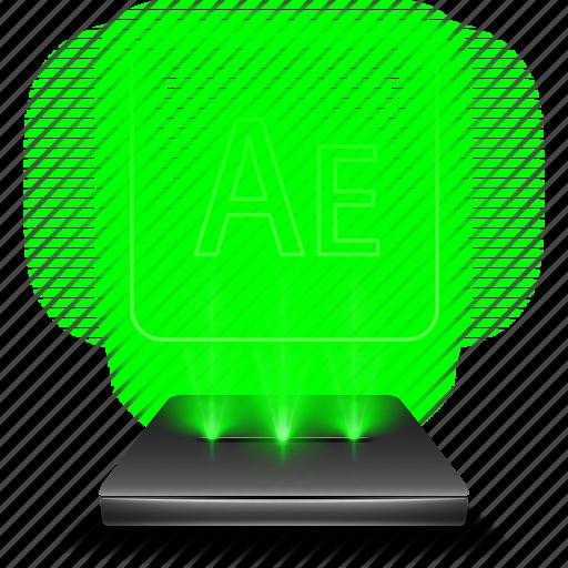 adobe, after, design, effects, hologram, illustrator icon