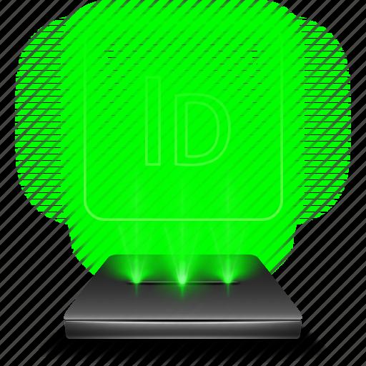 adobe, design, hologram, indesign icon