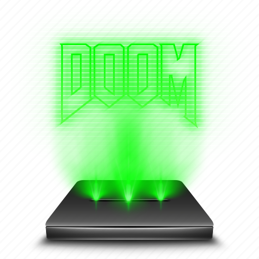 doom, entertainment, game, hologram, holographic icon