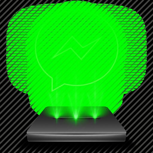 bubble, communication, hologram, messenger, network, social, talk icon