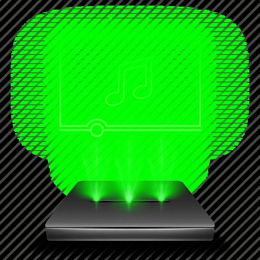 audio, hologram, multimedia, music, player, sound icon