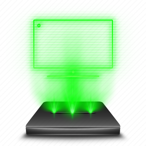 computer, hologram, holographic, my, pc, personal icon