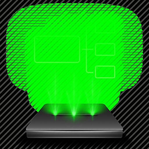 hologram, internet, lan, network, transfer, web icon