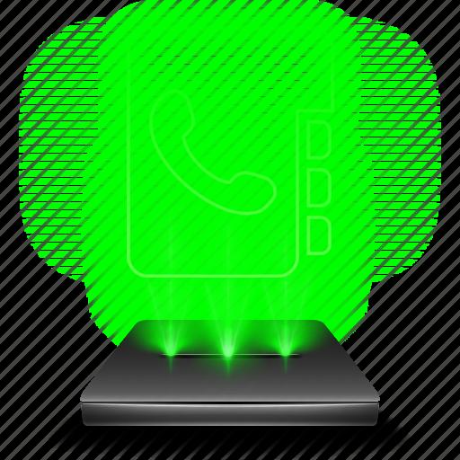 adress, chat, communication, hologram, phone, phonebook, telephone icon