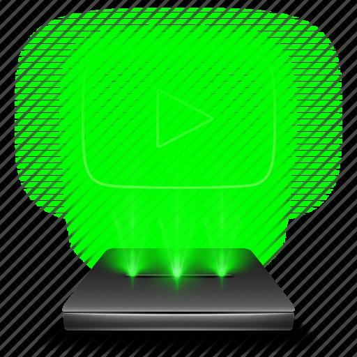 hologram, media, network, play, social, video, youtube icon