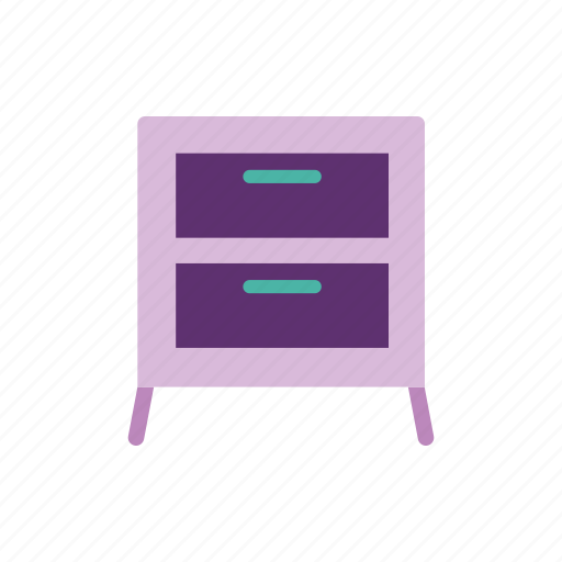 bedroom, bedside, drawers, furniture, home, interior, table icon
