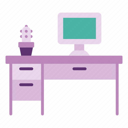 computer, desk, furniture, home, interior, office, table icon