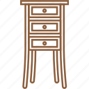 container, furniture, interior, side table, stationary table, table, tall table icon