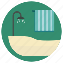 bath, bathroom, bathtub, house interior, lifestyle, room shower, shower icon