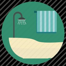 bath, bathroom, bathtub, house interior, lifestyle, room shower, shower icon