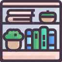 book shelf, furniture, interior, shelf, wardrobe icon