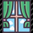 furniture, interior, window icon