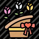 basket, bouquet, flora, flower, gift