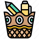 basket, love, pen, pencil, stationery icon