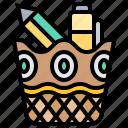 basket, love, pen, pencil, stationery