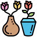 bouquet, decoration, flora, flower, vase icon
