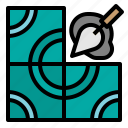 construction, house, improvement, repair, tiles, tools icon