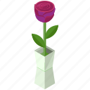 essentials, flower, home, rose, vase icon