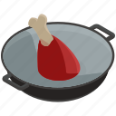 cook, essentials, home, kitchen, pot, steak icon