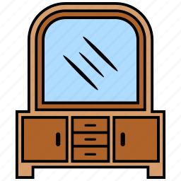 dressing, furniture, hair, table icon