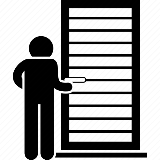 door, galvanized, iron, man, metal, person, steel icon