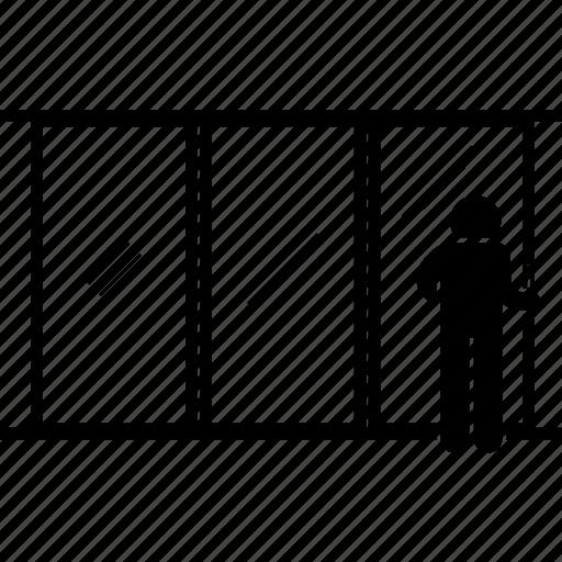Door, entrance, glass, man, panel, person, sliding door icon - Download on Iconfinder