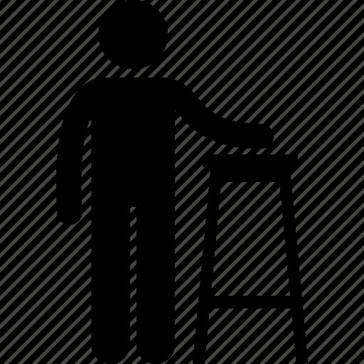 chair, furniture, high, man, person, stool icon
