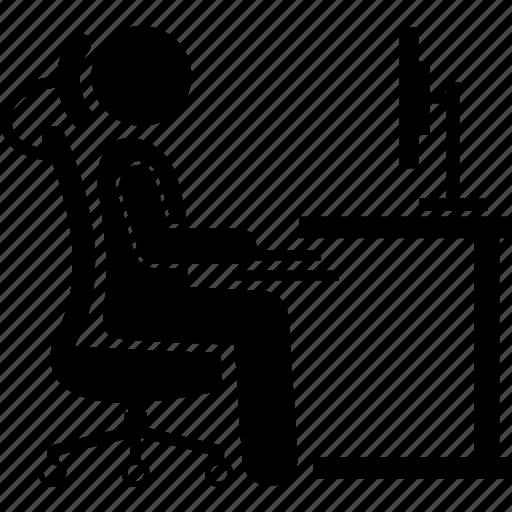 chair, computer, ergonomic, office, work, working, workstation icon