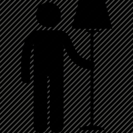Standing, people, light, person, lamp, lighting, man icon