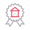 badge, house, insurance, medal, property icon