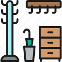 clothing, furniture, hallway, hanger, home, interior, rack