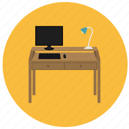 computer, desk, home, lamp, library, office, study icon