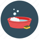 bubbles, bucket, soap, sponge, bath, clean, wash