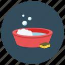 bubbles, bucket, soap, sponge, bath, clean, wash icon