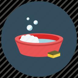 bath, bubbles, bucket, clean, soap, sponge, wash icon