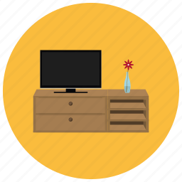 cabinet, entertainment, flat screen, flower, home, table, television icon