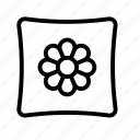 flower, pillow, sleep icon